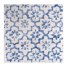 Origami Flower Majolica Tiles, Blue, Set of 4