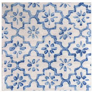 Origami Flower Majolica Tiles, Blue, Set of 4