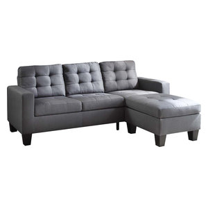 Phenomenal Acme Thelma Sectional Sofa With Sleeper And Ottoman Gray Andrewgaddart Wooden Chair Designs For Living Room Andrewgaddartcom