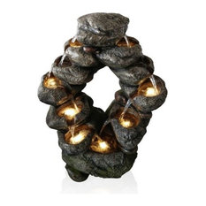 7 Tier Cascading Rock Fountain With 8 Yellow LED Lights