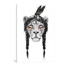 """Warrior Lion"" by Balazs Solti, Canvas Print, 40""x26"""