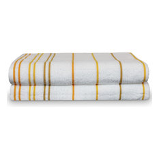 Towel 100% Pure Cotton Pool Beach Towels, Yellow Gold, Striped, Set of 2