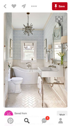 So Polished Chrome Mirror, Shower Pull, And Toilet Paper Holder... Polished  Nickel Light And Knobs... I Think You Would Like This Bath As An Idea.