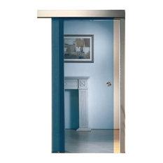 Glass Door.US   Sliding Glass Barn Door Blue Tinted Transparent Glass, 26