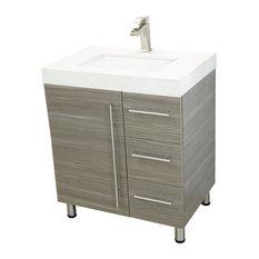 Windbay 30 Free Standing Bathroom Vanity Sink Gray White Quartz Countertop