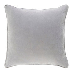 "Solid and Border Cotton Velvet Pink Accent Pillow, 18""x18"""
