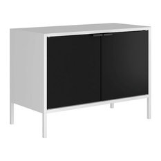 Smart Low Wide TV Stand Cabinet White And Black