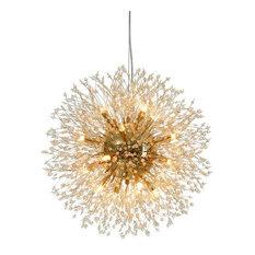 16-light K9 Crystal Gold Plated Dandelion Chandelier