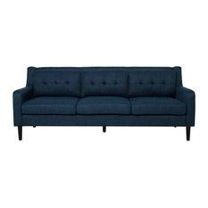 Marco Tufted Fabric 3 Seater Sofa, Navy Blue/Espresso