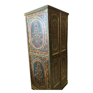 Mogulinterior - Consigned Jodhpur Black Armoire Floral Pained Door for Home Decor - Armoires And Wardrobes