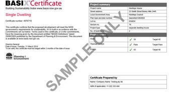 BASIX Certification Sample