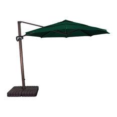 11' Bronze Cantilever Crank Aluminum Umbrella, Forest Green Sunbrella