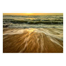 """Washing Out to Sea"" Nature Photography, Coastal Unframed Wall Art Print, 20""x24"