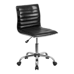 Flash Furniture Ribbed Faux Leather Office Chair in Black
