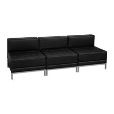 Hercules Imagination Series Black Leather Lounge Set 3 Pieces