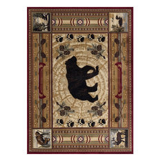 Black Bear Novelty Lodge Brown Rectangle Area Rug, 9' x 12'