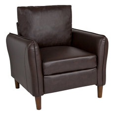 Milton Park Upholstered Plush Pillow Back Arm Chair in Brown Leather