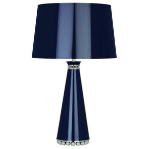 Robert Abbey Pearl Table Lamp, Midnight Blue, Nickel, Silver Lining