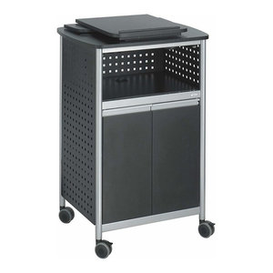 Modern Lectern, Steel Metal With Open Shelf, Bottom Cabinet and Cup Holder