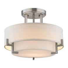 Steel   Modern Ceiling Light With White Glass, Satin Nickel   Flush Mount  Ceiling