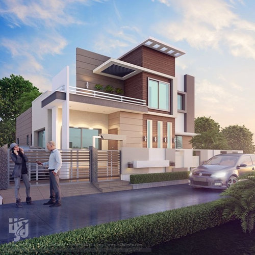 Modern Bungalow Front Elevation : Modern bungalow exterior elevation design day rendering hs
