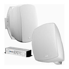 "6.5"" Wireless Bluetooth Outdoor Weather Resistant Patio Speaker Pair, White"