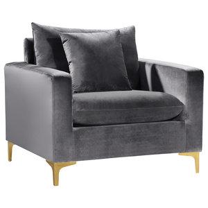 Naomi Velvet Chair, Gold and Chrome Leg Set, Gray