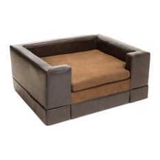 GDFStudio   Rover Chocolate Brown Leather Dog Sofa Bed, Large   Dog Beds