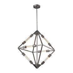 Urban / Industrial 6 Light Chandelier in Weathered Zinc Finish