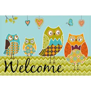Welcome Owl Gallery Door Mat, Large