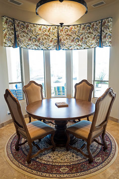 Size and shape of rug under kitchen table