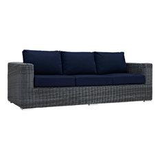 Modway Summon Outdoor Patio Sunbrella Sofa, Canvas Navy