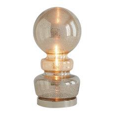 "Art Deco Turned Mercury Glass Table Lamp |15"" Sculpture Silver Bronze MidCentury"