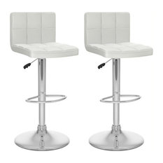 Pemberly Row Faux Leather Adjustable Bar Stool In White (Set Of 2)