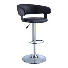Powell Furniture Powell Black Faux Leather Barrel and Chrome Adjustable Height Bar Stool Bar