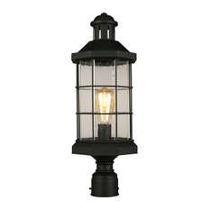 1x60W Outdoor Post-Light w/ Matte Black Finish and Clear Seeded Glass by Eglo 20