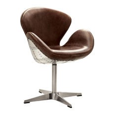 Brancaster Aluminum and Top Grain Leather Chair With Swivel, Retro Brown