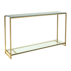 Federico Narrow Console Table, Clear Glass, Brass Accent