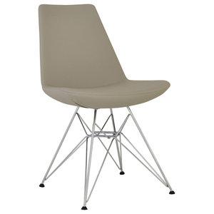 Eiffel Tower Dining Chair, Chrome Base, Bone Ppm