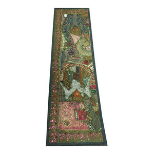 Mogul Interior - Consigned Antique Fabric, Green Sari Patchork Sequin Embroidered Tapestry - Table Runners