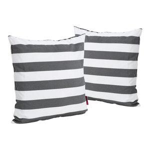 GDF Studio La Mesa Indoor Striped Square Throw Pillow, Black, Set of 2