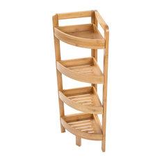Bamboo Corner Storage Shelf, 4 Tier