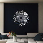 WALLTAT - Forever Diamonds, 34x34 - Our Forever Diamonds Reflective Wall Decal is a beautiful optical illusion that will enchant and mystify your guests. The diamonds slowly converge and warp giving an almost vibrating sensation when you look at it. This thin reflective vinyl has a chrome finish that will show wall imperfections if not totally smooth. Although this material is not an actual mirror, it will reflect light and colors from opposing sides of the room for a dramatic eye catching effect.