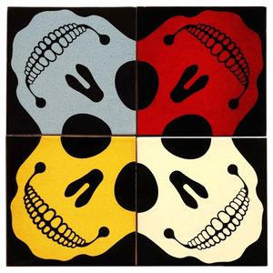 Skull Coloured Ceramic Tile Mural, 4 Tiles