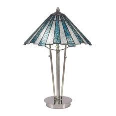 Sea Ice Art 2-Light Table Lamp, Brushed Nickel Finish