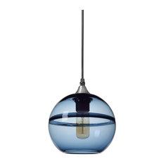 "Unique Optic Contemporary Hand Blown Glass Pendant Light, Shade: Blue, 7"""