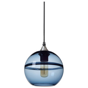 Unique Optic Contemporary Hand Blown Glass Pendant Light, Shade: Blue, 7""