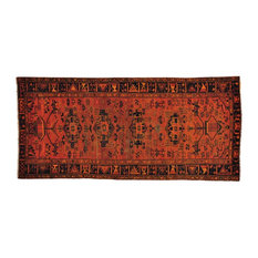 """Pure Wool Hand Knotted Wide Runner Overdyed Hamadan Rug, 4'4""""x9'5"""""""
