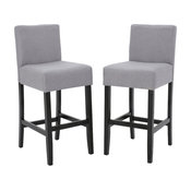GDF Studio Ester Modern Fabric Barstool, Set of 2, Light Gray
