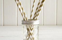 Paper Straws, Gold/White